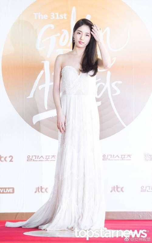 韩国美女明星裴秀智小仙女白色礼服优雅清新出
