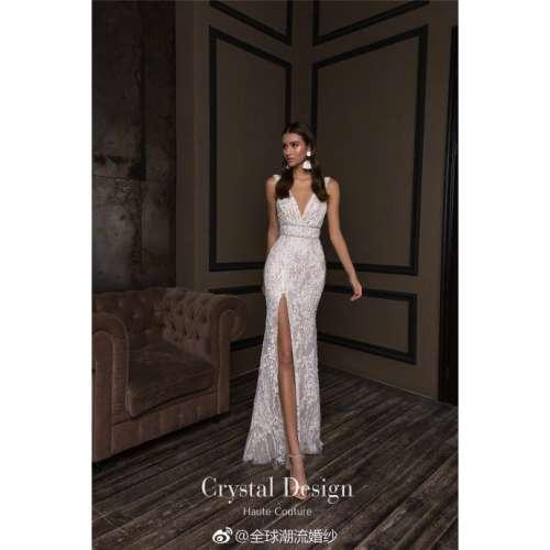乌克兰顶尖婚纱品牌CrystalDesign2018端庄典雅的鱼尾