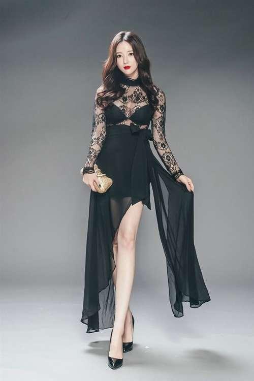韩国美女蕾丝透视裙写真安卓高清壁纸