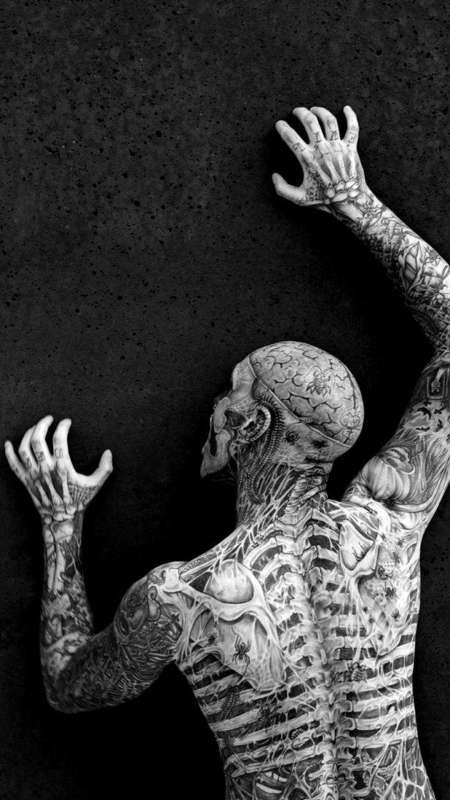 骷颅刺青僵尸男孩高清写真手机壁纸